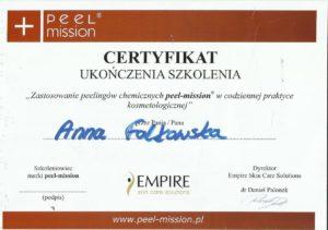certyfikat Anna Falkowska peelingi chemiczne peel-mission