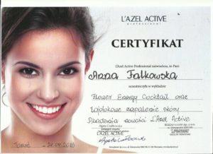 certyfikat Anna Falkowska zabiegi kosmetyczne