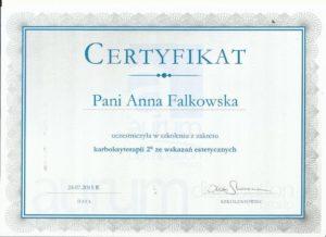 certyfikat karboksyterapia Anna Falkowska