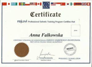 certyfikat Anna Falkowska zabiegi pilingu przy użyciu kwasu mlekowego