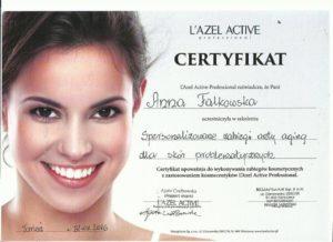 certyfikat Anna Falkowska salony kosmetyczne bydgoszcz