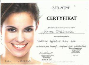 certyfikat Anna Falkowska zabiegi rozjaśniające twarz
