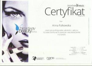 certyfikat Anna Falkowska - techniki wypełniania kwasem hialuronowym