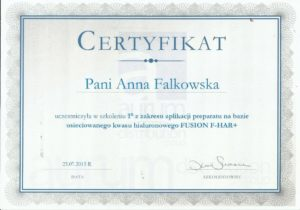 certyfikat Anna Falkowska wypełnianie kwasem hialuronowym